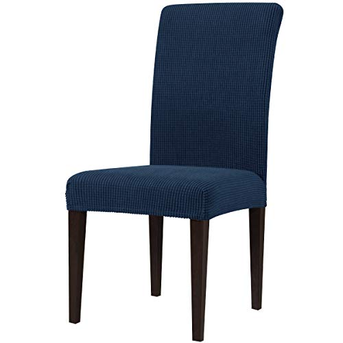 subrtex Dining Room Chair Slipcovers Sets Stretch Furniture Protector Covers for Armchair Removable Washable Elastic Parsons Seat Case for Restaurant Hotel Ceremony(2,Navy)