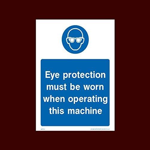 Oogbescherming moet gedragen worden bij het tekenen van persoonlijke beschermingsmiddelen, helmen, laarzen, handschoenen, masker, oog, bril