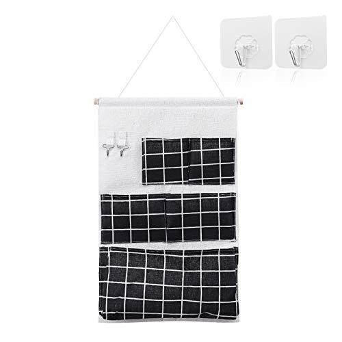 Bolsa organizadora de bolsillo para colgar en la pared, para puerta de pared, almacenamiento de lino impermeable, diseño de celosía tridimensional, con 4 ganchos, apto para dormitorio, baño (negro)