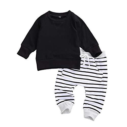 Geagodelia Baby Kleidung Jungen Sweatshirts Langarm Oberteile Hose Baby Neugeborenen Set Outfit Babykleidung Set (Schwarz, 0-6 Monate)