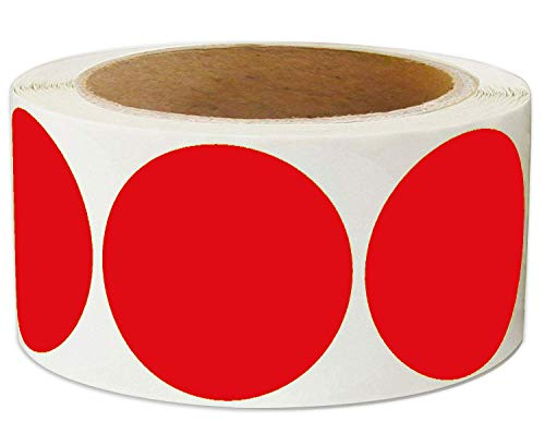 Fluorescent Red Labels 2 inch Round Color Coding Dot Stickers - Color-Code Dot Labels 500 Adhesive Inventory Organizing Labels for Moving/Storage/Organizing(Red, 2 Inches)