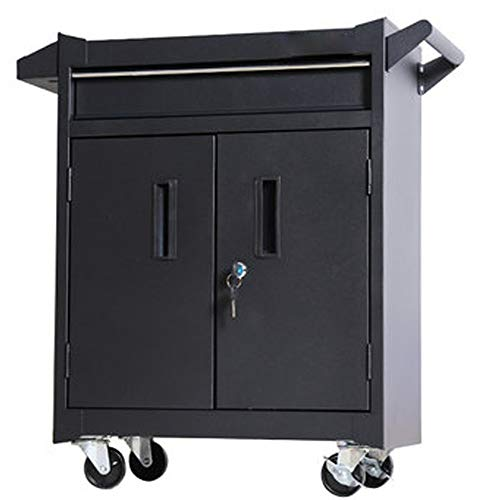 YGWE Tool Cabinets Auto Repair Tool Trolley Toolbox Multifunctional Tattoo Workbench Workshop Tool Tin Cabinet Tool Chest (Color : Black, Size : 52x28x70cm)