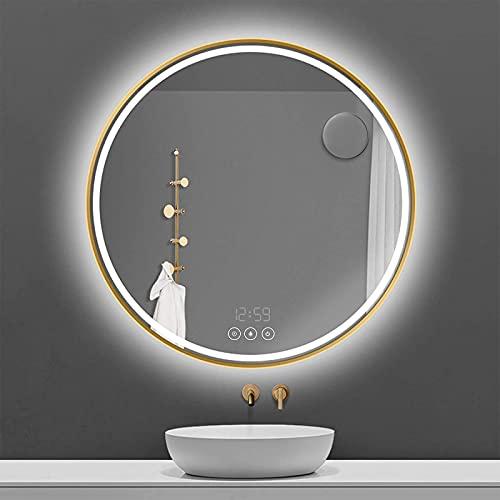 LED Wandspiegel Badezimmerspiegel, Rund Wandspiegel 60cm Antibeschlage mit Beleuchtung 3 Lichtfarbe 3000K-6400K kaltweiß/Neutral/Warmweiß, Badezimmerspiegel mit Zeitanzeig, Touchschalter und Lupe