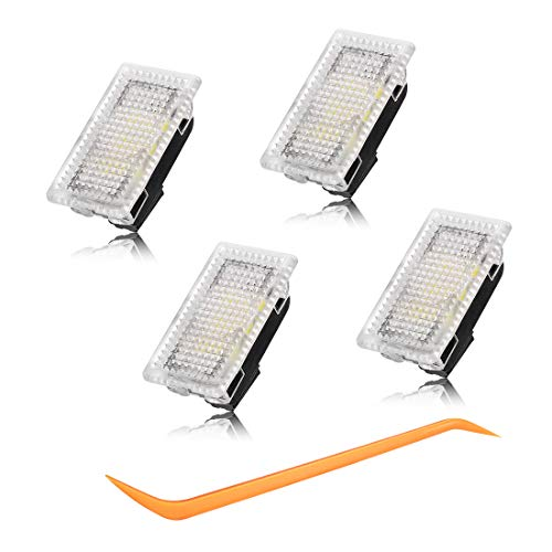 BougeRV For Tesla Car Interior LED Lights Bulbs Kit, Ultra-bright Easy-Plug with Prying Tool Tesla Model Accessories Replacement Lights Fit for Tesla Model 3 Model S Model X Model Y(4 Pack)