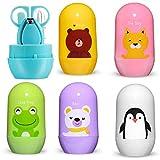 4 piezas conjunto de cuidado de uñas para bebés kits de atención médica para bebés tijeras de corte de dedo para bebés tijeras para cortar uñas caja de almacenamiento de animales de dibujos animados p