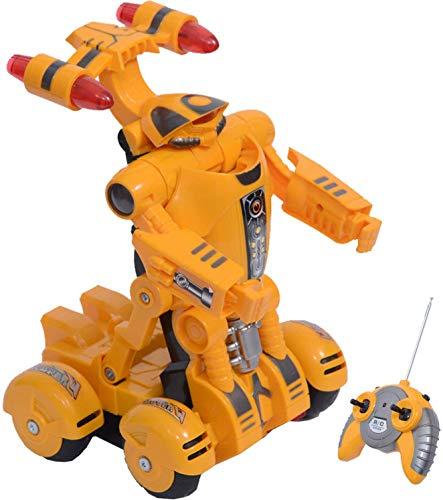 YARMOSHI Mando A Distancia Coche Robot Juguete. Hace La Danza De La Batalla. Luces Intermitentes, 8,7x5,3x4,3 Pulgadas.RC Juguete para Los Niños De 4 + (Amarillo)