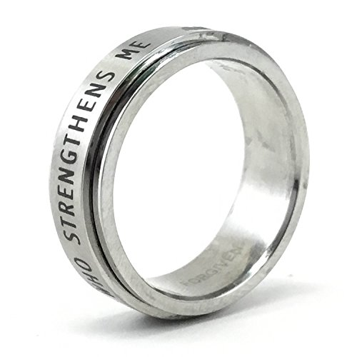 FORGIVEN JEWELRY RSS7 I Can Do All Things Stainless Steel Spinner Ring Size 7-Christian Jewelry