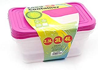 Mintra Plastic Food Storage Containers with Lids for Meal Preparation, 3 Pieces - Fuchsia