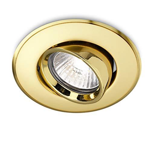 Faretto Incasso Gea Led Ge-gfa003 Led Spot Orientabile Classico Oro Lucido Tondo Cartongesso Controsoffitto Interno Gu10