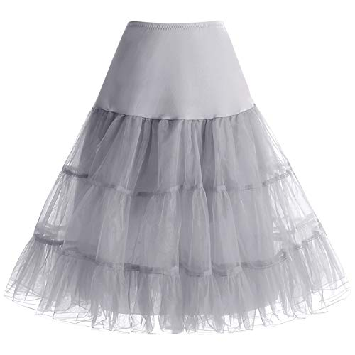 Petticoat Rock Sommerkleid Damen Reifrock Unterrock Petticoat Underskirt Crinoline für Rockabilly Sommerkleid Damen Kleid Grey S