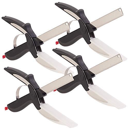 Rosenstein & Söhne Kräuterschere: 4er-Set 2in1-Küchenschneider-Scheren mit Messer und Schneidebrett (Küchen-Schere)