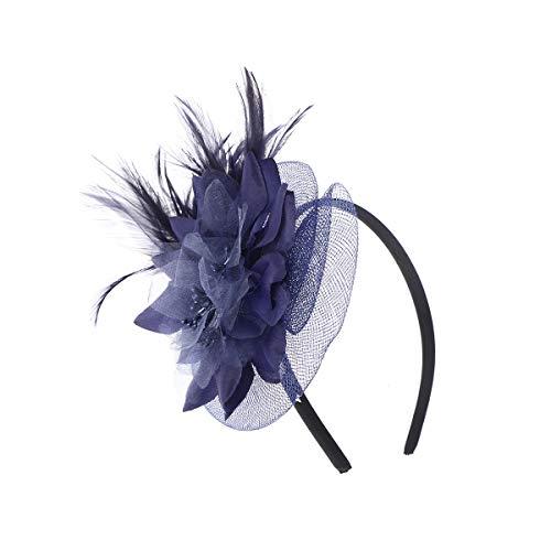 Frcolor Chapeau de mariage fascinateur chapeau maille fleur coiffe cocktail pour les femmes (bleu marine)