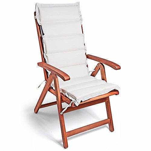 Detex 6er Set Stuhlauflage 120x45x5cm Stuhlkissen Polster Auflage Hochlehner Sitzauflage Wendekissen Creme Anthrazit