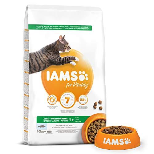 Iams Vitality - Croquettes Premium Chats Adultes 100% Complètes et équilibrées - Aux poissons de l'océan - Sans OGM Colorant Arôme Artificiel - Sac refermable 10kg