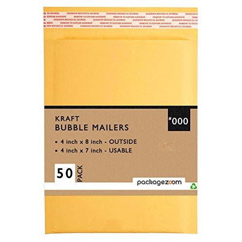 PackageZoom 4x8 Kraft Bubble Mailers #000 Padded Shipping Envelopes Self Seal Waterproof 50 Pack