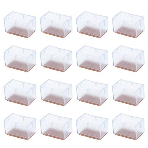 16 Stück Stuhlfüße, rutschfest, PVC, transparent, rechteckig, für Stuhl, Tischbeine, Fußabdeckungen, Kappen für Bodenschutz gegen Kratzer