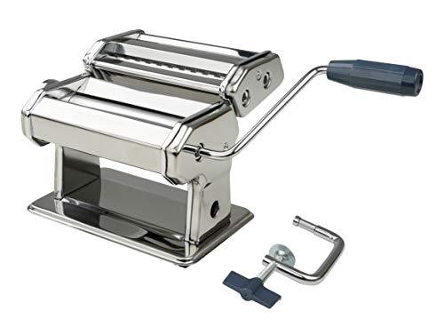 FACKELMANN Nudelmaschine Easyprepare, hochwertige Pastamaschine aus Edelstahl, manuelle Nudelmaschine mit 2 verschiedenen Nudelwalzen, Pastamaker für Spaghetti, Bandnudeln, Lasagne (Farbe: Silber)
