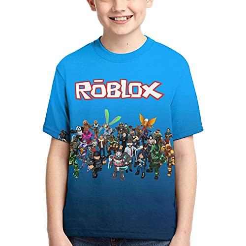 Amacigana Roblox - Camiseta de manga corta unisex para adolescentes con impresión 3D de cuello redondo para niños y niñas (Black2, grande)