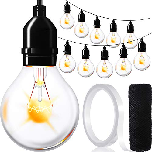 72 Pieces Light Bulbs Cut-Outs with Double-Sided Tape and Black Twine, Christmas Banner Industrial Chic Style Classroom Decor Home Birthday Festive Event Holiday Party Decorations