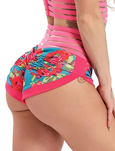 STARBILD Mini Shorts de Sport pour Femme Push up Sexy Ensemble Poches derrière Imprimé Fleur Taille Haute Été Plage Leggings Court Voyage Fitness Gym, Shorts Fleur Rose M