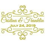 VWAQ Personalized Wedding Dance Floor Vinyl Decals Custom Wedding Decor Stickers Gift Sign - CS80 (32'H X 40'W, Gold)