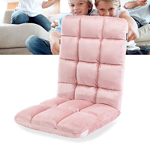 Altrobene Gaming Chair Rocker, Velvet Folding Couch Sofa Bed Sleeper Lounger Chair for Game Recreation Room, High Back, 5-Position Adjustable, Pink