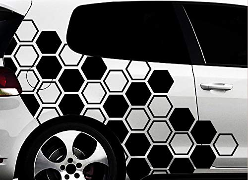 HR-WERBEDESIGN Hexagon Pixel Cyber Camouflage XXL Set Auto Aufkleber Sticker Tuning Wandtattoox