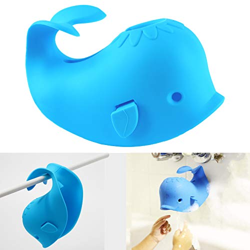 Bath Spout Cover for Bathtub,Baby Shower Protector Cover A Fun Way to Protects Baby from Bumping Head During Bathing Time Cute Soft Whale Design Making for Enjoyable Safe Baths (1 Pack,Blue)