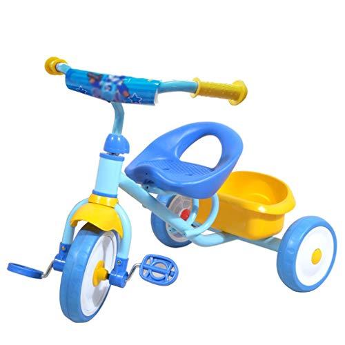Dreiräder Dreirad Kinderdreiräder Baby Dreirad Leichte Sitzbuggys Dreirad Ab 3 Jahren Umweltschutz Stahl Baby Kleinkinder Mit Lenkbarer Schubstange 2 Farben (Color : Blue)