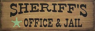 Adonis554Dan Sheriffs Office Jail Western Primitive Rustic Distressed Country Wood Sign Home Decor