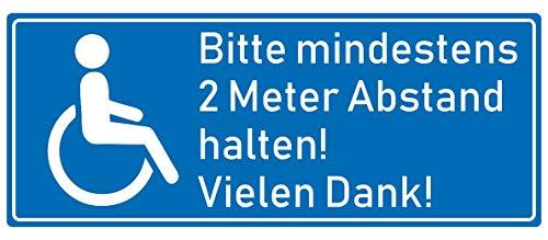 Samunshi® Aufkleber Behinderten Aufkleber 2 Meter Abstand - Schild Sticker Hinweisschild Warnschild Vorsicht Blau in 8 Größen (10x4cm Mehrfarbig)