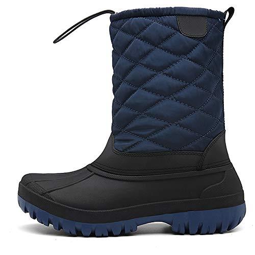 Winterstiefel Damen, Gummistiefel Damen Winter Wasserdicht Warm gefütterte Schneestiefel Trekkingschuhe Kunstpelz Futter Outdoor Stiefel Schuhe,Blau,41 EU