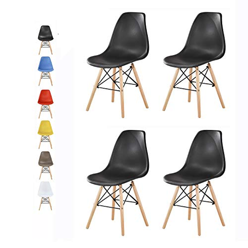 mcc direct Set of 4 Modern Design Dining Chairs Retro Lounge Chairs, LA (Black)