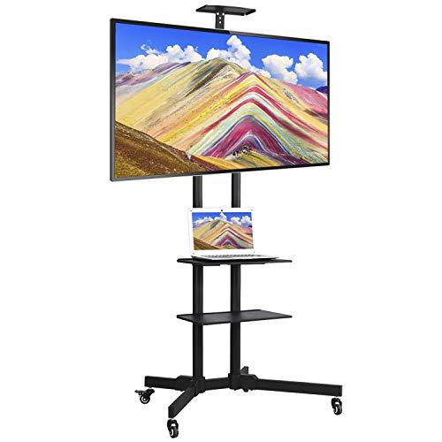 Yaheetech Universal TV Ständer Fernsehständer mobil TV Wagen Trolley Für 32-65 Zoll höhenverstellbar Halterung für LCD LED mit 3 Geräteablagen