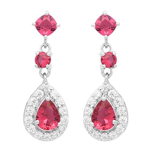 Shine Jewel Pendientes de boda colgantes con forma de circonitas rosadas de plata esterlina 925 colgantes de topacio para mujer Pera Zirconia cúbica Rosado
