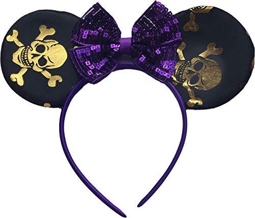 Schedel Minnie Mouse Zwart Goud Paarse Pailletten Boog Fancy Jurk Hoofd Band Oren Halloween