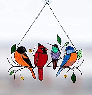 Wall Hanging Bird Lover Gift Window Decoration Golden Finch Feather Birds of Our Nation Series Sun catcher Art Glass Stained Glass