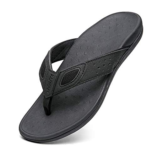 Sandals for Men Orthopedic Arch Support Flip Flops for Flat Feet Plantar Fasciitis Indoor and Outdoor Beach Slippers Black Size 11
