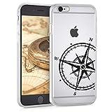 kwmobile Hülle kompatibel mit Apple iPhone 6 / 6S - Handyhülle - Handy Hülle Kompass Vintage Schwarz Transparent