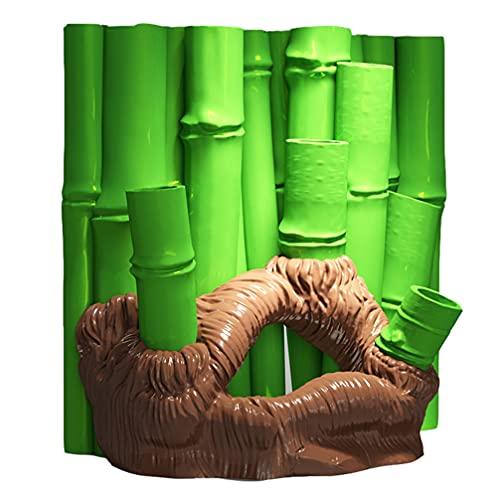 STOBOK Fondo de Bambú 3D Casa Cueva Betta Hideout Peces Ocultos Agujeros Pecera Ornamento de Acuario de Resina Rocosa Decoración de Paisajes Ornamentos (Verde)