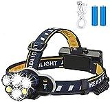 E-Bestar Linterna de cabeza, 6 LED 8 modos, linterna frontal recargable USB, impermeable, para camping, senderismo, ciclismo, al aire libre