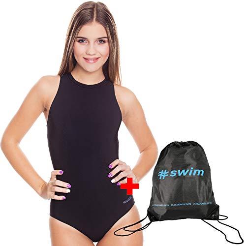 Aqua-Speed Set Blanka Costume da Bagno Donna + ULTRAPOWER #Swim Zaino di cordone   Größen Badeanzüge:40, Colore:Nero