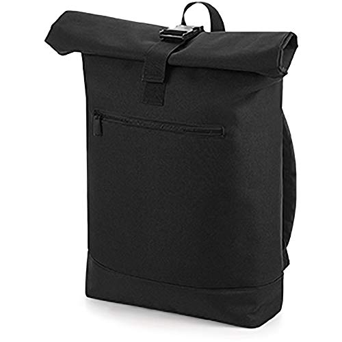 Bagbase Unisex Roll Top Backpack / Rucksack Black Mens