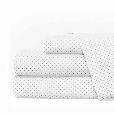 Egyptian Luxury 1600 Series Hotel Collection Pindot Pattern Bed Sheet Set - Deep Pockets, Wrinkle and Fade Resistant, Hypoallergenic Sheet and Pillowcase Set - Queen - White/Light Gray