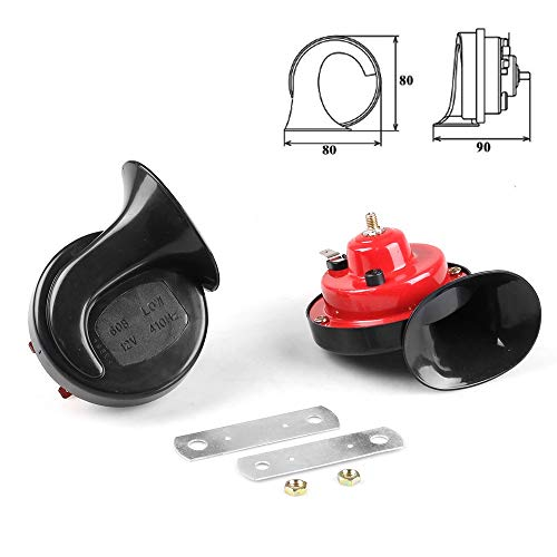 LIUWEI Car Horn Universal One Pair All 12V 110dB Car Air Horn Loud Car Dual-Tone Snail Electric Siren On Car Air Horn Loud Signal Auto Styling (Color : Black with red, Voltage : 12V)