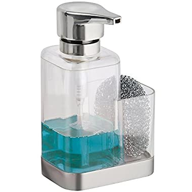 mDesign Soap Dispenser Pump with Sponge or Scrubber Holder for Kitchen Countertops - Clear/Brushed