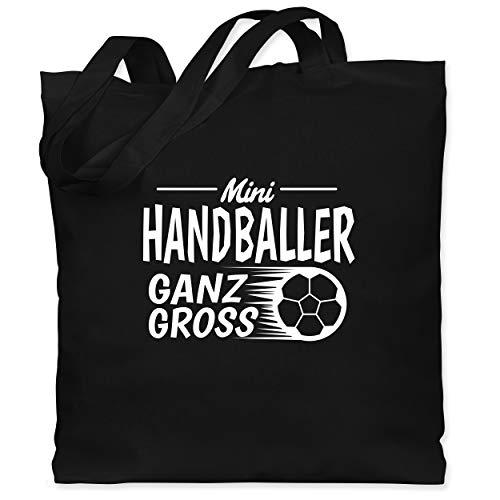 Sport Kind - Mini Handballer ganz groß - Unisize - Schwarz - Mini Handballer ganz Gross - WM101 - Stoffbeutel aus Baumwolle Jutebeutel lange Henkel