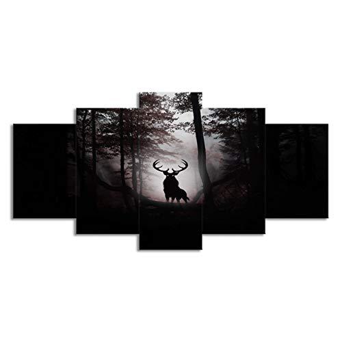 SLJZD Cuadro sobre Lienzo 5 Piezas Deer Night Forest XL Impresiones En Lienzo Micro Spray Art Poster Combinar Imágenes Impresiones En Lienzo Arte De La Pared para La Cocina Sin Marco 60 Inch