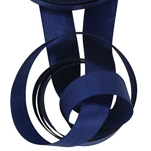 aufodara 22 Mètres Ruban Satin 20mm de large, Couleur unie Décoration pour Emballage Cadeau Bricolage Créatifs Arcs Artisanat Accessoires de fête de Mariage (Bleu Marin, 20 mm x 22 M)
