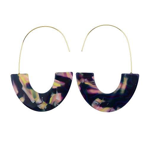 Bijoux di bicromato di potassio dell'acetato di orecchino della stampa del leopardo della resina acrilica di Semicirc di tartaruga (purple)
